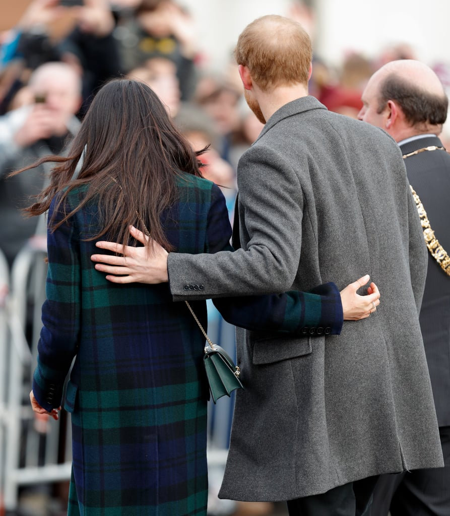 Prince Harry has always done things a little differently from his big brother, William, and one such example is how he interacts with fiancée Meghan Markle in public. Since the couple announced their engagement in November 2017, their public displays of affection have had us swooning; while Will and Kate keep their PDA to a a sweet touch on the back or the occasional hug, Harry and Meghan have never shied away from holding hands, staring lovingly into each other's eyes, or pulling out their signature move — wrapping their arms around each other's back as they walk. Keep reading to see what we mean.      Related:                                                                                                           All the Details About Harry and Meghan's Wedding