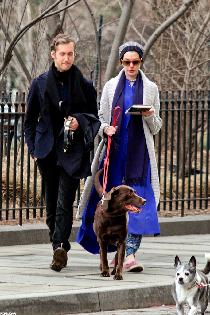 Anne Hathaway wore red sunglasses to take a walk with her dog and Adam Shulman.