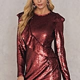 NA-KD Glamorous Frill Sequin Dress