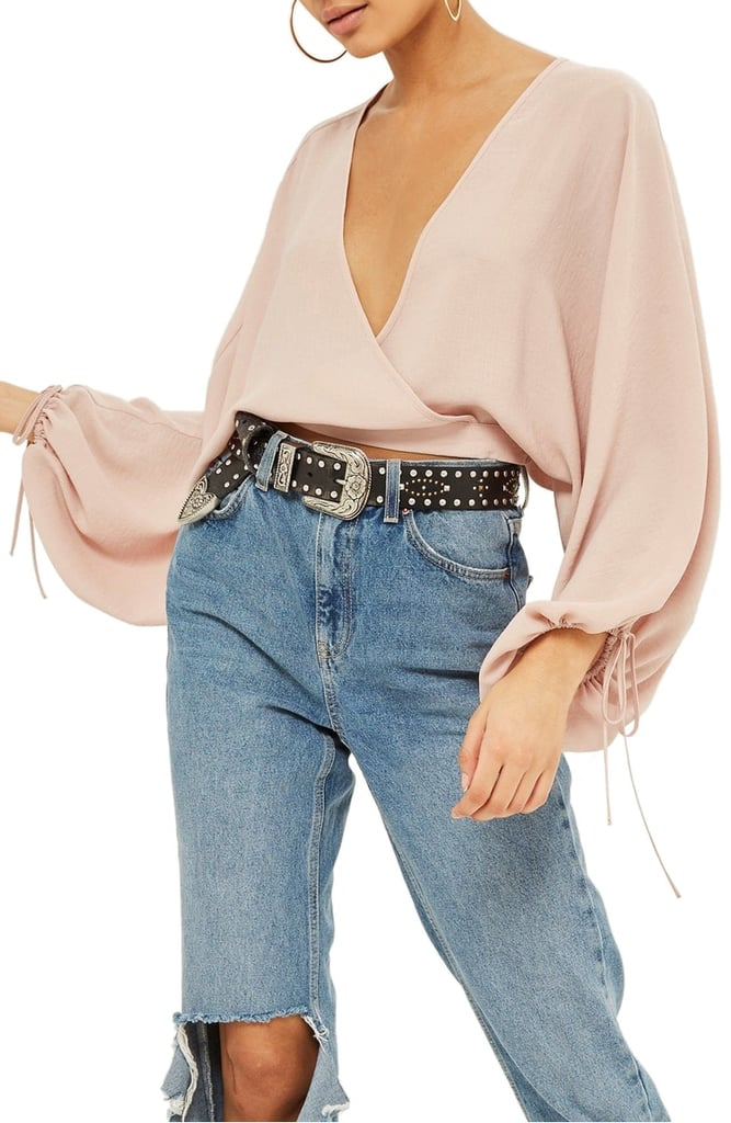 5c55a9ac73 Topshop Balloon-Sleeve Wrap Top | Sexy Date-Night Tops 2018 ...