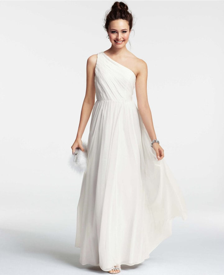 Silk Georgette Pleated One Shoulder Gown ($550) | Beach Wedding ...