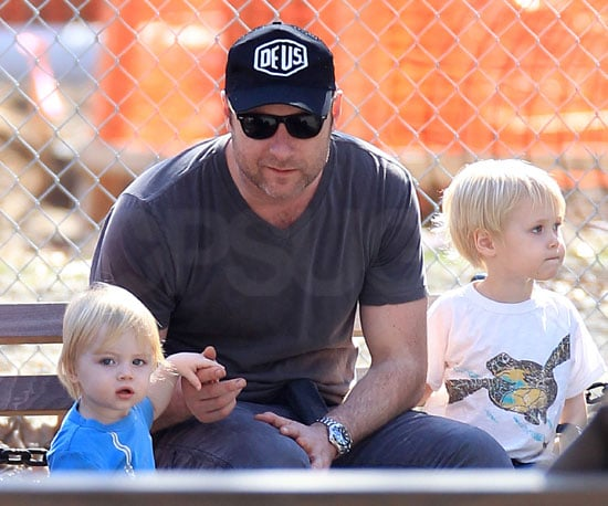 Slide Photo of Liev Schreiber with Sasha and Samuel in New York