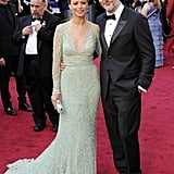 Bérénice Bejo and husband Michel Hazanavicius channeled classic glamour. We love how his black tux offsets her soft mint Elie Saab gown.