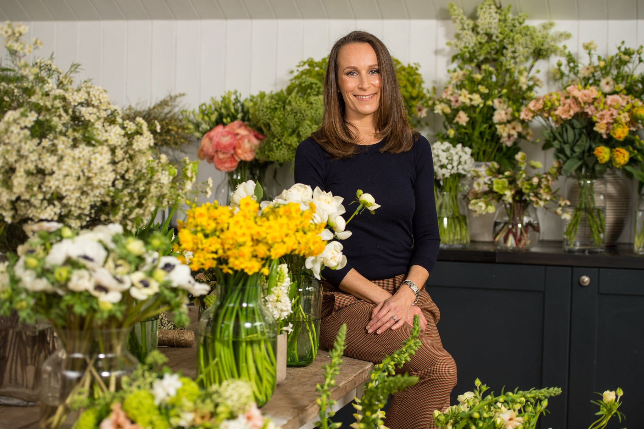 Florist Philippa Craddock poses for a photograph in her studio in London on March 29, 2018.Philippa Craddock has been chosen to create the church flowers for the wedding of Britain's Prince Harry and Harry's fiancee, US actress Meghan Markle in St George's Chapel and for St George's Hall. / AFP PHOTO / POOL / Dominic Lipinski        (Photo credit should read DOMINIC LIPINSKI/AFP/Getty Images)