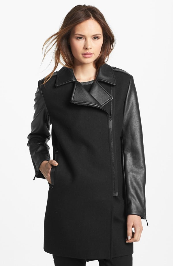 Start thinking about your coat situation now. This wool and faux-leather style ($140, originally $210) from Vince Camuto is chic but tough.