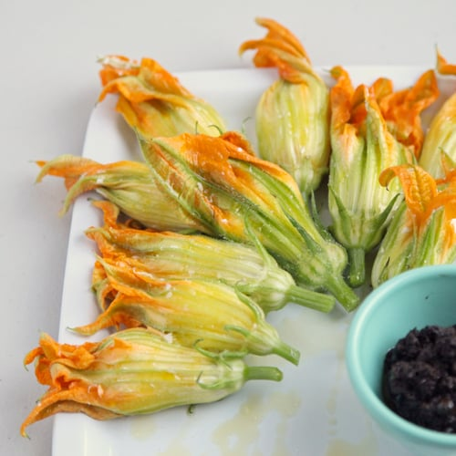 Burrata-Stuffed Squash Blossoms and Olive Tapenade Crostini
