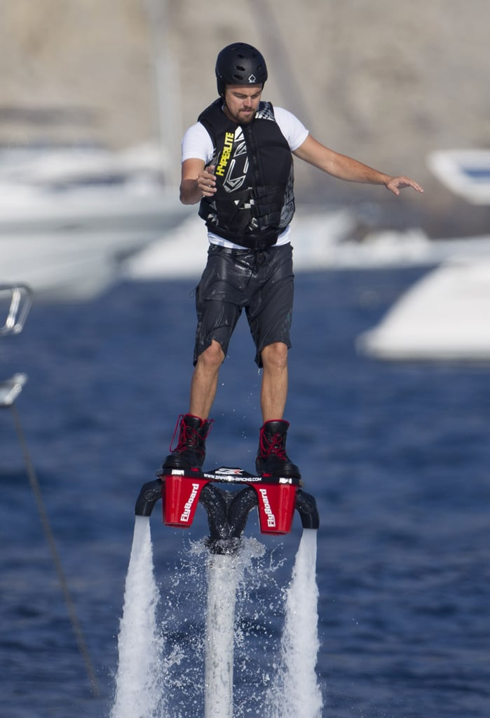 Leonardo DiCaprio had fun trying out a Flyboard on the water while vacationing in Ibiza, Spain, with his model girlfriend, Toni Garrn.