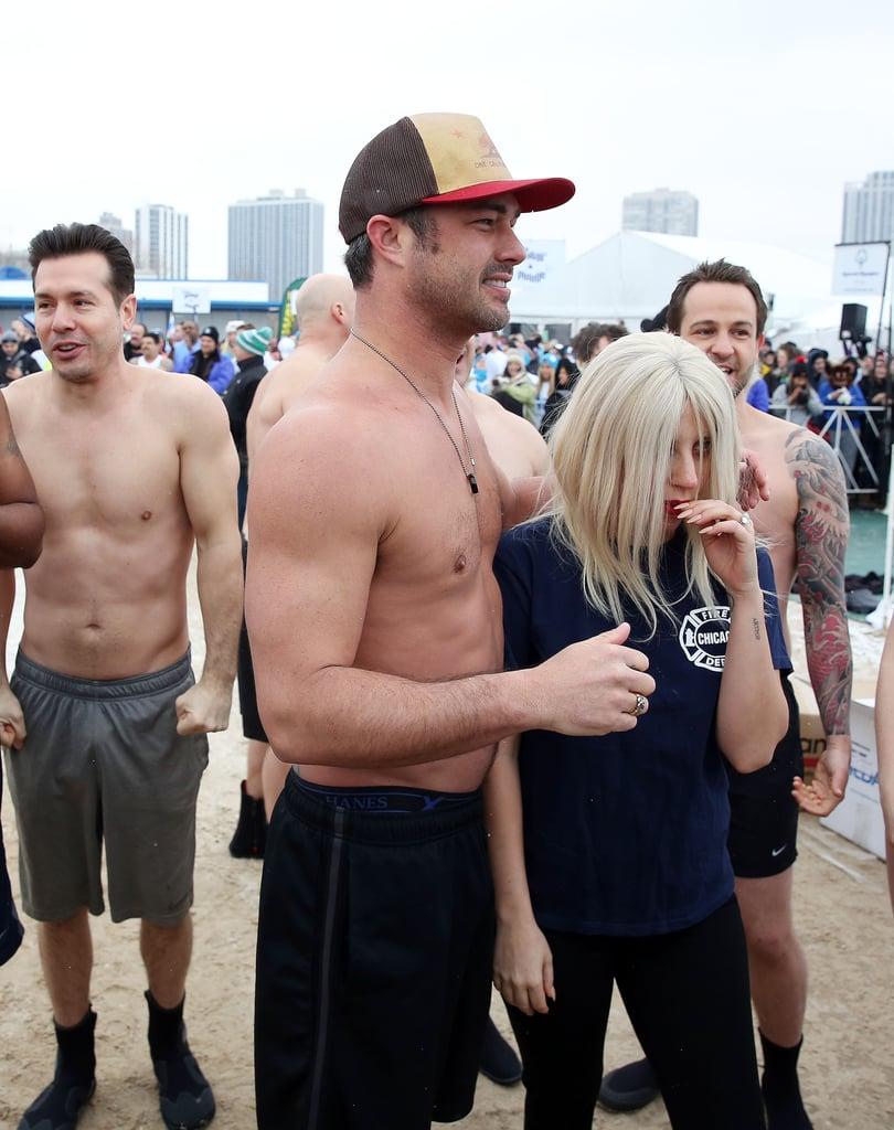 Lady Gaga, Taylor Kinney and Vince Vaughn Take Polar Plunge
