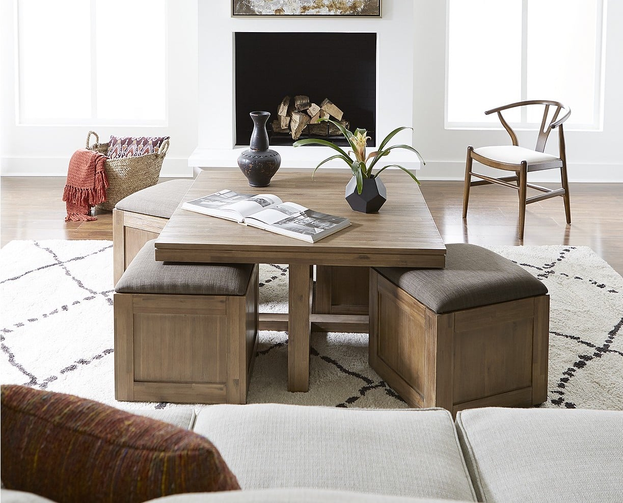 Champagne Cube Coffee Table With 4 Storage Ottoman   From Beds to