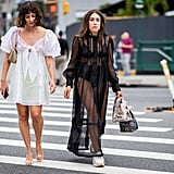 Going braless in a white sheer dress (left) and styling a black sheer dress with matching undergarments (right).