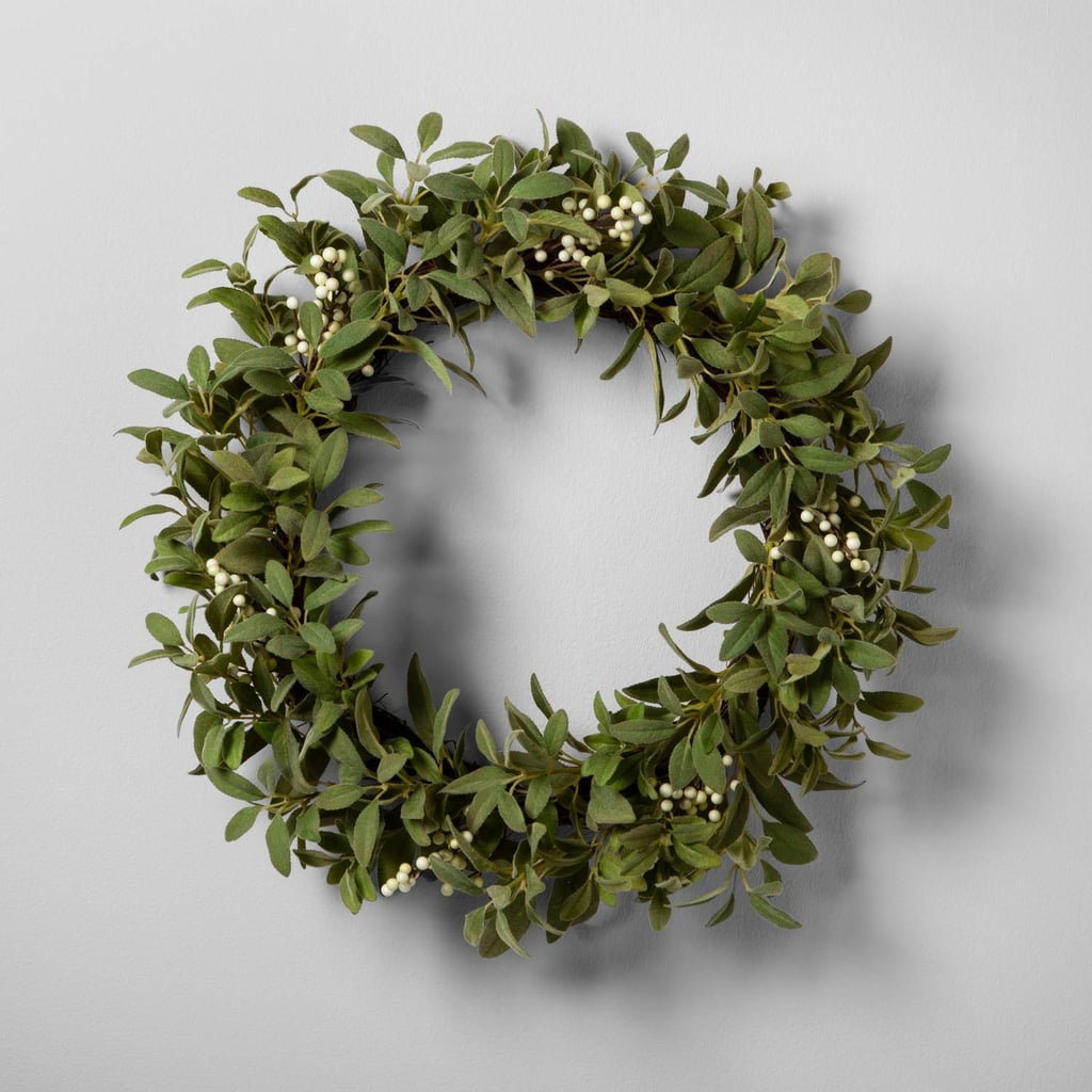 Hearth & Hand With Magnolia Artificial Lamb Ear and White Berry Wreath