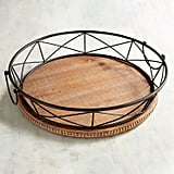 Phoenix Wooden Beaded Tray With Black Metal Trim