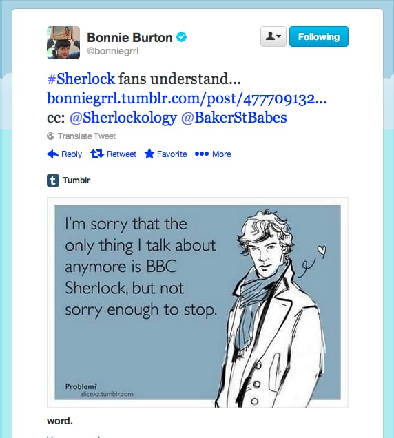 Star Wars web show host Bonnie Burton makes no apologies for loving her some Sherlock, which, by the way, just began filming season three!