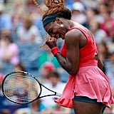 Serena Williams celebrated her victory when she won her women's singles fourth-round match.