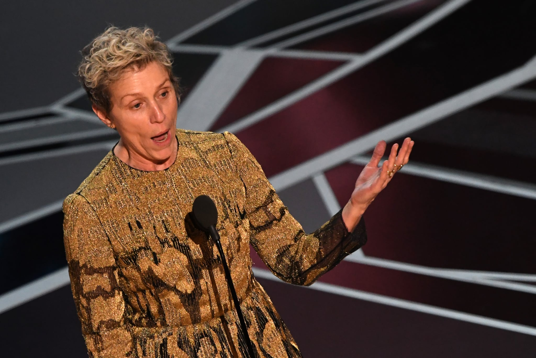 US actress Frances McDormand delivers a speech after she won the Oscar for Best Actress in