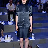 Michelle Dockery sat front row at Marc Jacobs wearing a silky dotted blouse with a matching skirt.