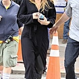 Blake Lively wore a black robe on set.