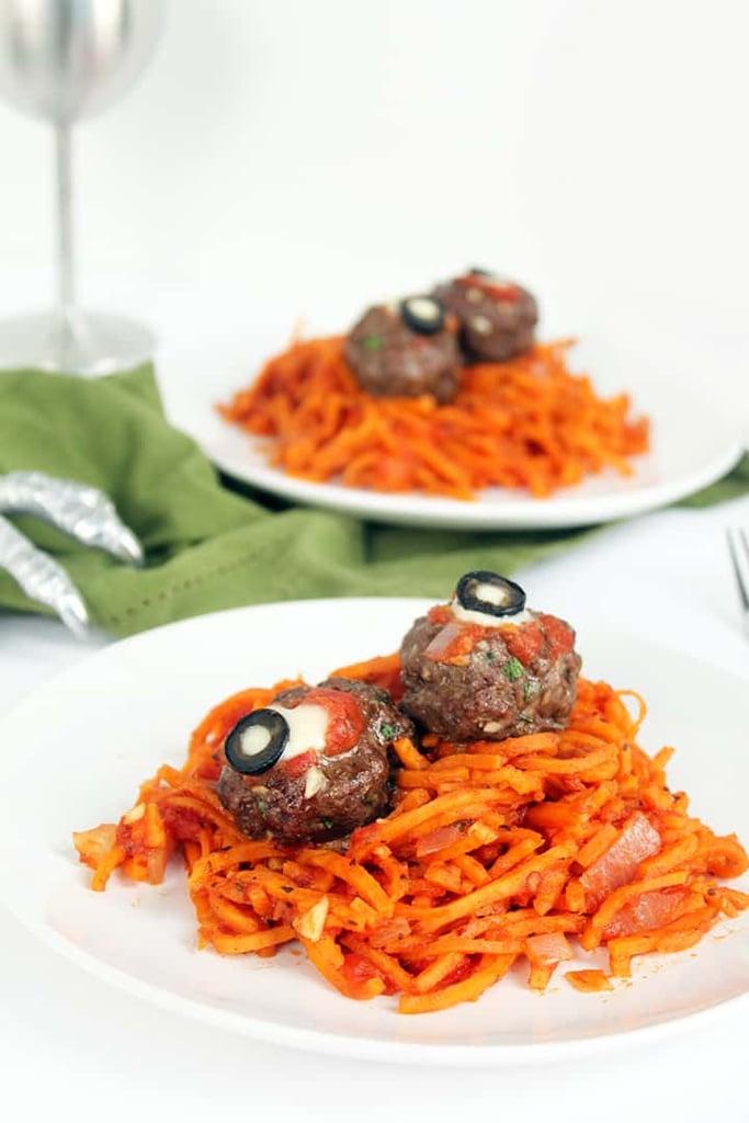 """Spooky Sweet Potato """"Worms"""" With Oozing Beef """"Eyeballs"""""""