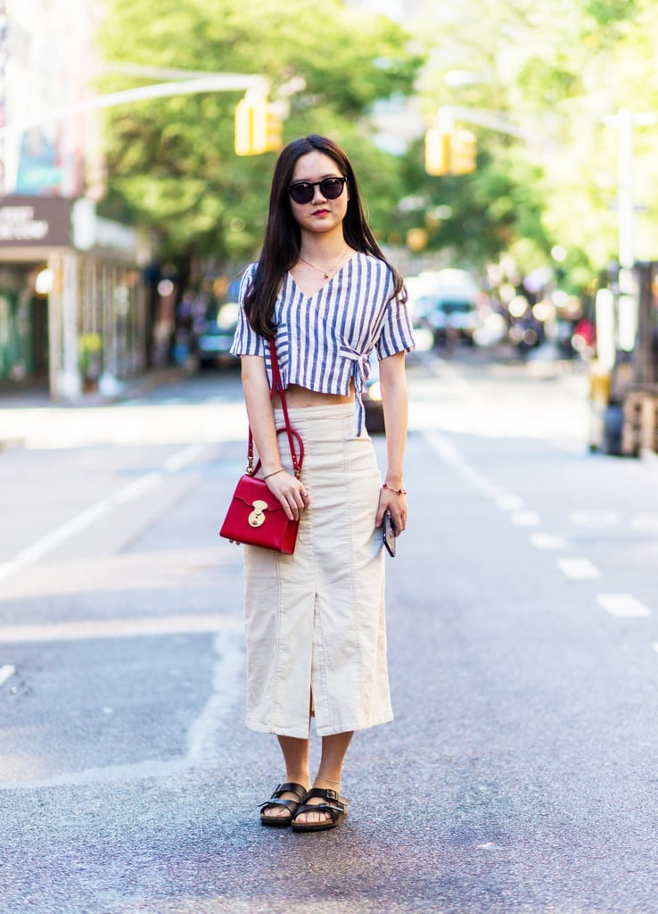 With a Crop Top And Midi Skirt
