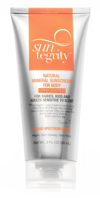 Suntegrity Natural Mineral Sunscreen SPF 30 Unscented For Body ($24) is Tata Harper's choice. (Her current line doesn't include SPF products.) Zinc oxide is the active ingredient.