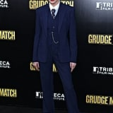 'Tis the season to be dapper, and Kim Basinger borrowed from the boys in a pinstripe Ralph Lauren Collection three-piece number on the Grudge Match red carpet.