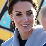 In the Yukon, Kate chose a pair of $74 bronze earrings that were inspired by the design of traditional Inuit knife the ulu and made by local jeweler Shelley MacDonald.