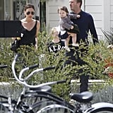 David Beckham and Victoria Beckham with their daughter, Harper, out on Easter.
