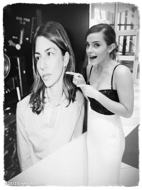 Emma Watson got goofy with a blown-up photo of director Sofia Coppola in Cannes last month.  Source: Twitter user EmWatson