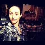Emmy Rossum took a picture behind the scenes of Shameless while filming episode eight. Source: Instagram user emmyrossum