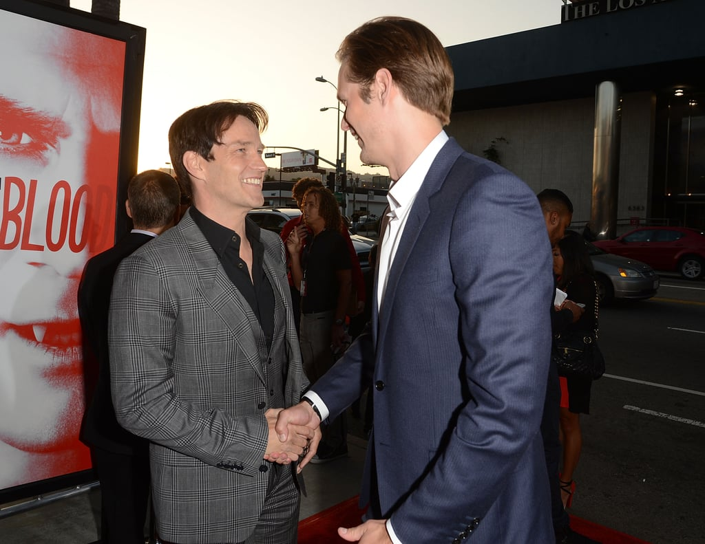 Alexander Skarsgard and Stephen Moyer shared a friendly moment on the red carpet.