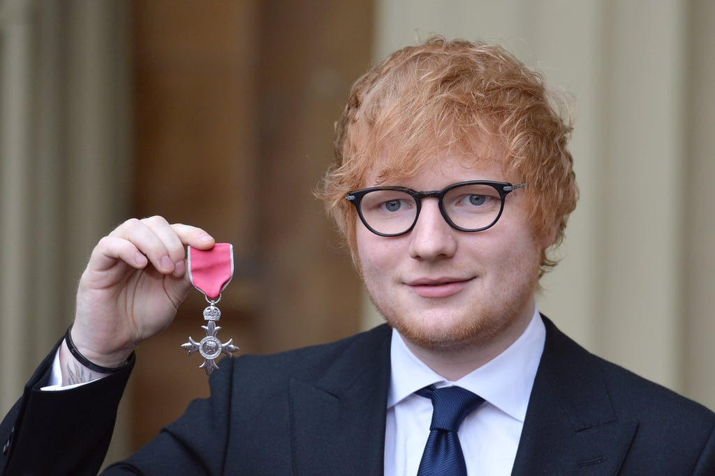 Ed Sheeran Buckingham Palace For MBE Investiture Photos