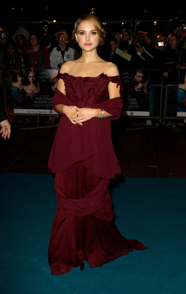 Natalie Portman in a Burgundy Gown at the 2008 The Other Boleyn Girl London Premiere