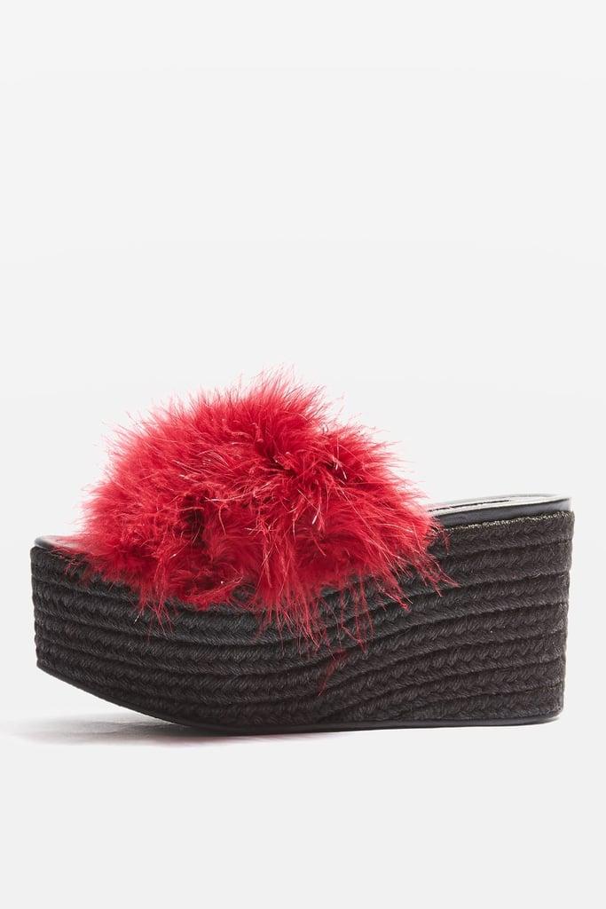 Topshop's Warren Fluffy Espadrilles ($100) feature an added puff of fur.