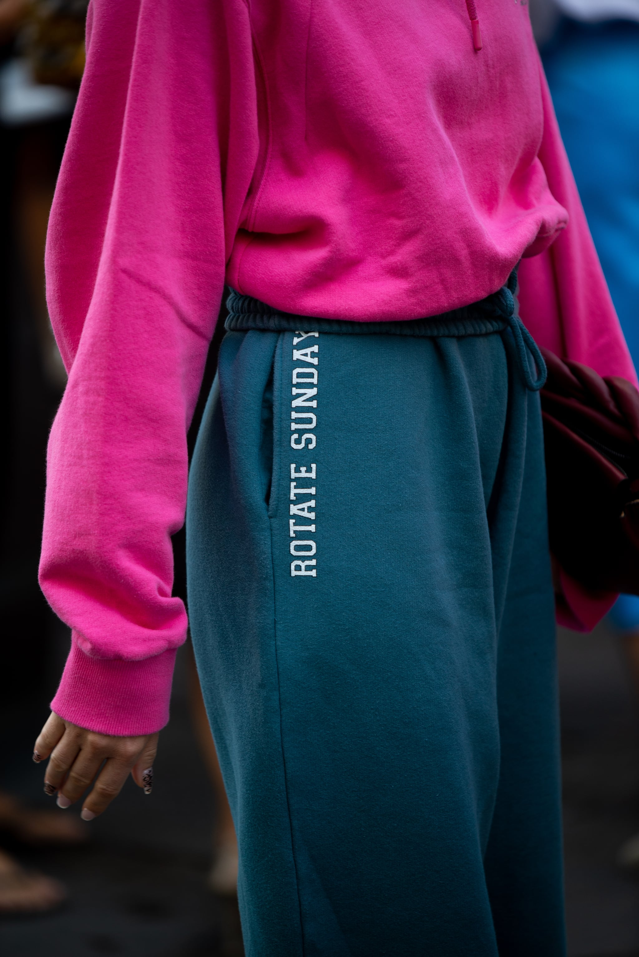 COPENHAGEN, DENMARK - AUGUST 11: Thora Valdimars wearing blue sweatpants, high-heels and pink jamper outside Lovechild 1979 wearing during Copenhagen fashion week SS21 on August 11, 2020 in Copenhagen, Denmark. (Photo by Raimonda Kulikauskiene/Getty Images)