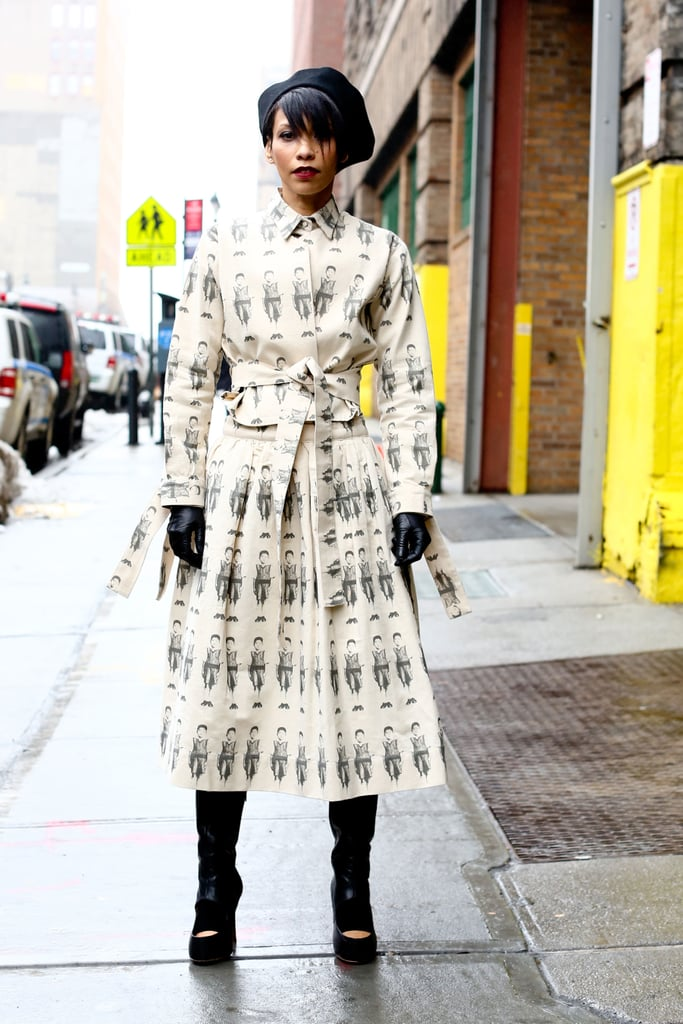 This showgoer let her printed outerwear take center stage for a fierce street-style moment.