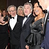 Steven Spielberg and his wife, Kate Capshaw, had a laugh with Daniel Day-Lewis, Robert De Niro, and his wife, Grace Hightower De Niro.