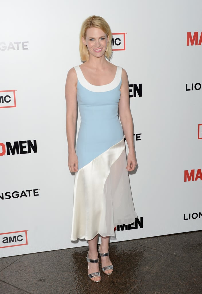 January Jones slipped into a pastel and creamy colour-blocked Jonathan Saunders Spring '13 dress and metallic Christian Louboutin sandals.