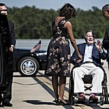 Warmly greeting George H. W. Bush at a Fort Hood memorial service in 2014