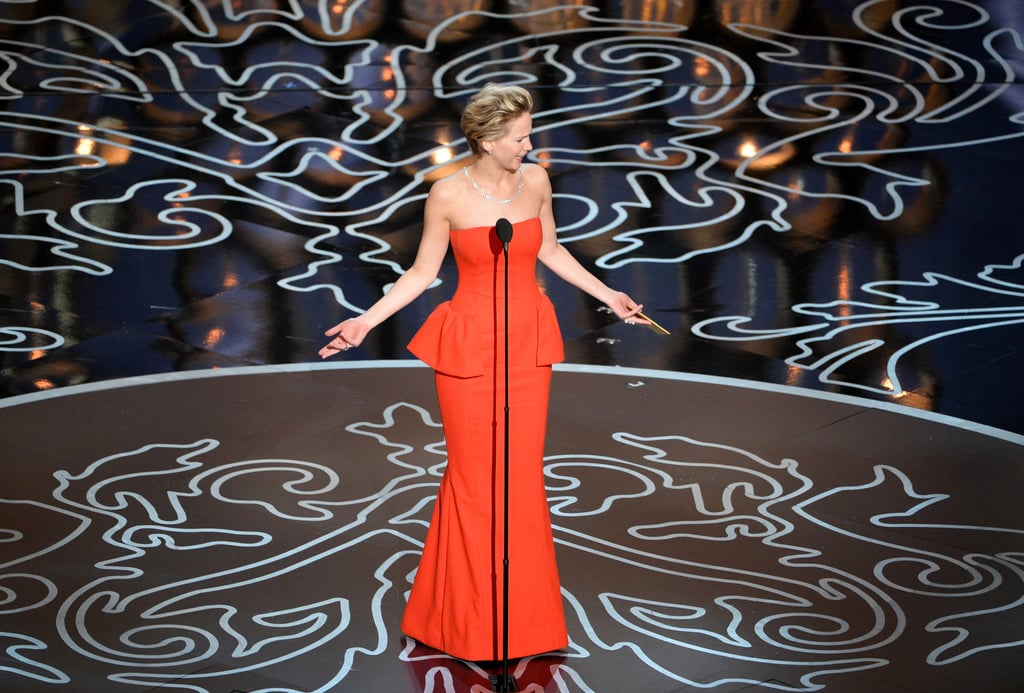 Jennifer Lawrence was a little confused when she took the stage to present the award for best actor — we found out why!