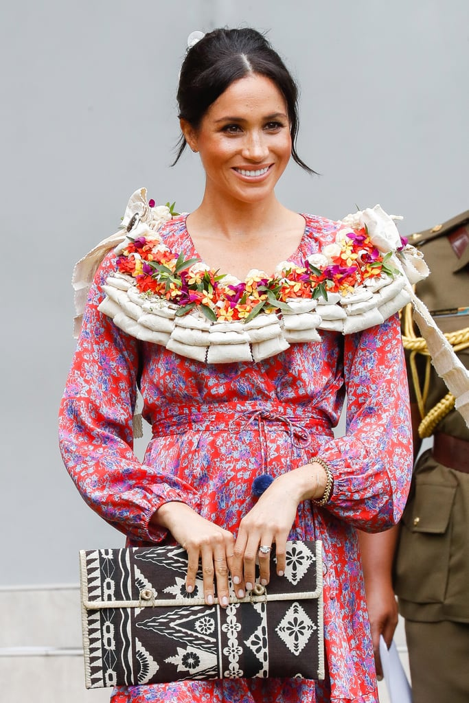 """Meghan Markle just hit another milestone: she delivered her first royal tour speech! Following their arrival in Fiji, Meghan and Prince Harry paid a special to the University of the South Pacific on Wednesday. The Duchess of Sussex spoke about the importance of college and how the cost of it affected her when she was younger. """"Everyone should be afforded the opportunity to receive the education they want, but more importantly the education they have the right to receive. And for women and girls in developing countries, this is vital,"""" Meghan told the students. """"When girls are given the right tools to succeed, they can create incredible futures, not only for themselves, but also for those around them."""" Meghan then announced two new grants that support female staff members at the university. """"My husband Harry and I wish you all the very best of luck as you continue your studies and your work,"""" Meghan said. """"Your efforts now will help to make a positive future for each of you and your communities at large."""" Meghan is the second British royal bride to have ever attended college (Kate Middleton is the first). After graduating from a private Catholic school in LA, Meghan attended Northwestern University in Evanston, IL, where she earned a bachelor's degree and double majored in theatre and international studies in 2003.       Related:                                                                                                           Feeling Nostalgic? See Meghan Markle and Kate Middleton's Royal Tours of Australia, Side by Side"""