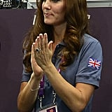 Kate cheered on the athletes.