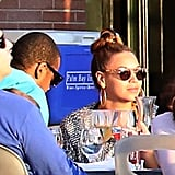 Beyoncé Knowles and Jay-Z dined in Battery Park.