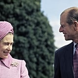 Prince Philip smiled at his other half during a visit to Fiji in February 1977.