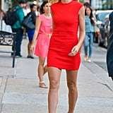 Heidi Klum stepped out in a red dress in NYC on Tuesday.