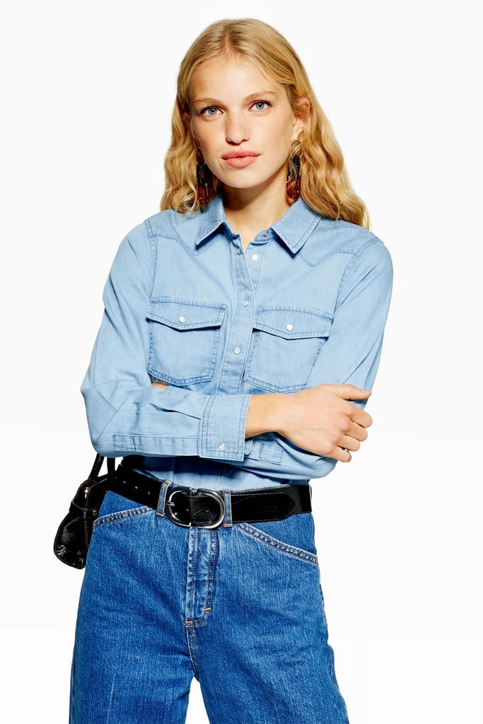 Topshop Fitted Denim Shirt