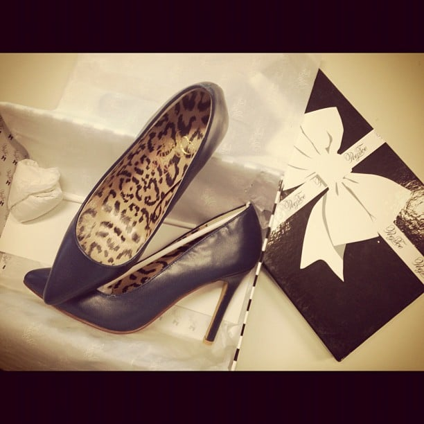 Our resident shoe designer, FabSugar ed Ali, created some navy blue pointed pumps with PeepToe. Can you say, 'classic'?