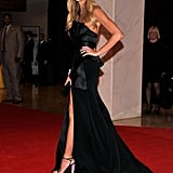 Elle Mcpherson showed some leg at the White House Correspondant's Dinner.