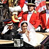 10:30 p.m. (1:30 p.m London, UK time)  The married couple leaves Windsor Castle in the Ascot Landau carriage and travels around the streets of London waving to the crowds before entering the grounds of the reception hosted by the Queen.