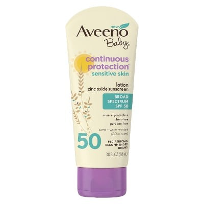 Aveeno Baby Continuous Protection Sensitive Skin Lotion Sunscreen, SPF 50