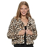 Candies Animal Print Short Faux Fur Jacket With Collar